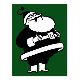 Postal Santa de risa negro y blanco del vintage en verde