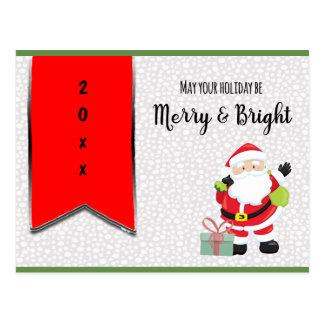 Postal Santa feliz y brillante con año