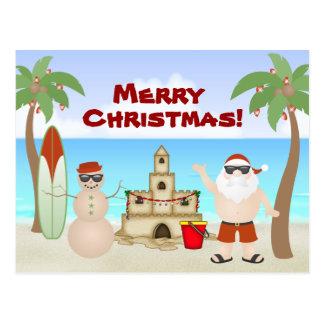 Postal Santa lindo en las Felices Navidad del paraíso de