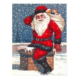 Postal Santa que va abajo de la chimenea