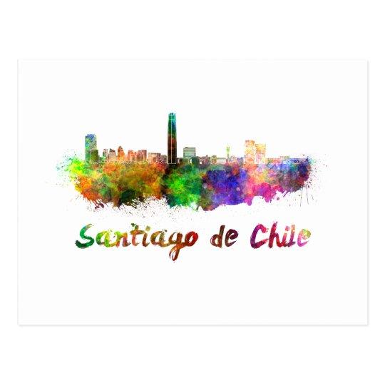 Postal Santiago de Chile skyline in watercolor