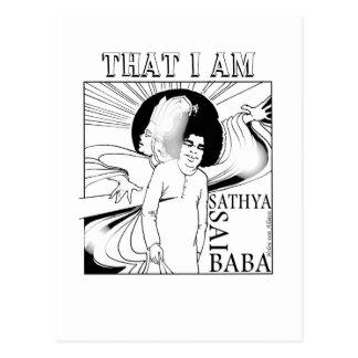 Postal Sathya Sai Baba BD, dibujo de la mano