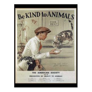Postal Sea bueno con los animales - poster del vintage