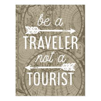 Postal Sea un viajero no una cita turística de la