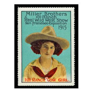 Postal Sello #3 del poster de la vaquera de 101 ranchos,