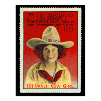 Postal Sello #4 del poster de la vaquera de 101 ranchos,