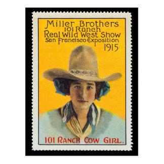 Postal Sello del poster de la vaquera de 101 ranchos, #1,