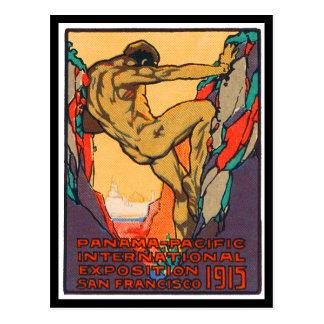 Postal Sello del poster que abre al PPIE, 1915