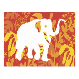 Postal Selva floral del safari del elefante