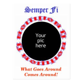 Postal Semper Fi Ambigram con la imagen