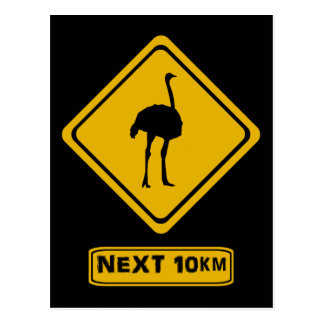 Postal señal de tráfico de la avestruz
