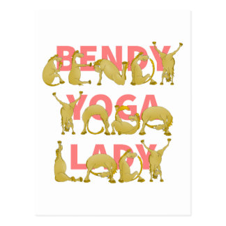 Postal Señora Bendy Funny Cute Pony de la yoga