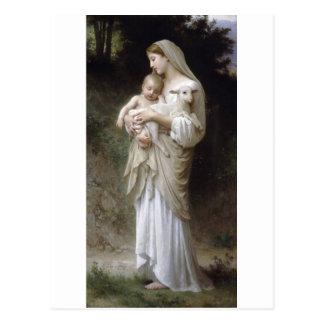 Postal Señora Child Lamb de la inocencia de Bouguereau