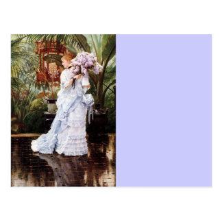 Postal Señora con las lilas