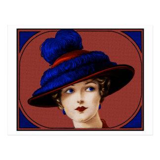 Postal Señora de Edwardian - Borgoña y gorra azul