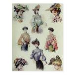 Postal Señora del Victorian - moda del francés del