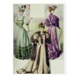 Postal Señora del Victorian - vestido de Moda-Brown del