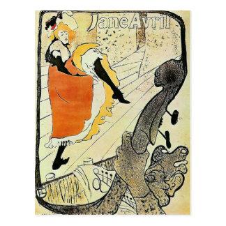 Postal Señora francesa del cancan del vintage de Jane
