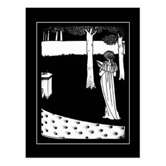 Postal Señora Illustration Postcard de Beardsley del