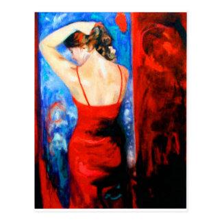 Postal Señora In Red