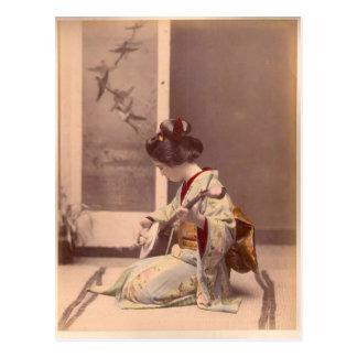 Postal Señora japonesa Geisha Asian Vintage Art