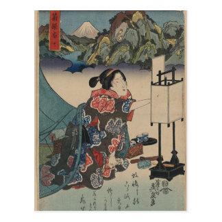 Postal Señora japonesa Mountain Scene de Ukiyo-e del