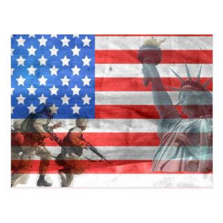 Postal Señora Liberty y soldados de la bandera de los