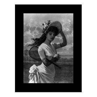 Postal Señora Postcard del tenis del Victorian