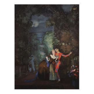Postal Señora y Harlequin de Konstantin Somov-