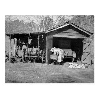 Postal Señoras de Sunbonnet en el lavado Day, 1936