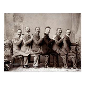 Postal Señores del Victorian del baile del revestimiento