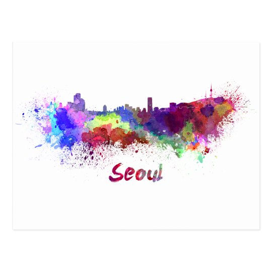 Postal Seoul skyline in watercolor