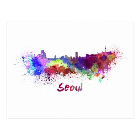 Postal Seoul skyline in watercolor