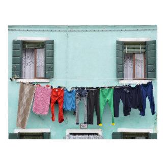 Postal Sequedad del lavadero por la cuerda para tender la