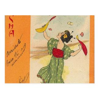 Postal Serie japonesa del ejemplo/del geisha