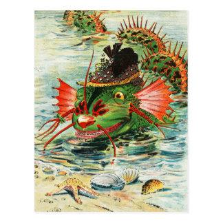 Postal Serpiente de mar que lleva un gorra de la pluma