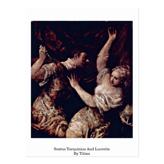 Postal Sextus Tarquinius y Lucretia por Titian