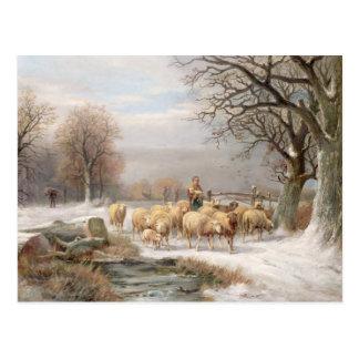 Postal Shepherdess con su multitud en un paisaje del