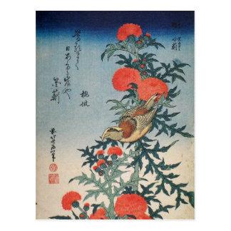 Postal Shrike y cardo (por Hokusai)