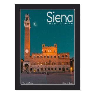 Postal Siena - noche de Palazzo Pubblico
