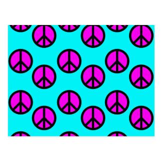 Postal Signos de la paz verde azulados y púrpuras del