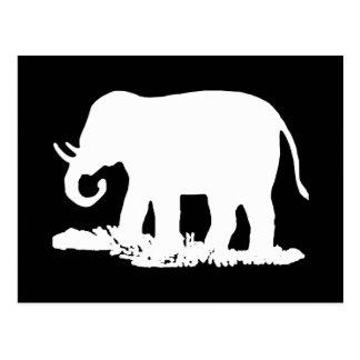 Postal Silueta blanco y negro del elefante