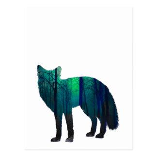 Postal Silueta del Fox - zorro del bosque - arte del