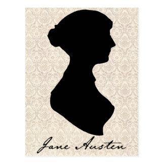 Postal Silueta del perfil de Jane Austen