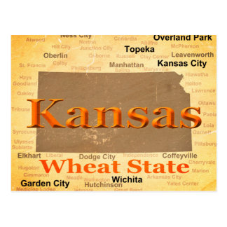 Postal Silueta envejecida del mapa del orgullo del estado