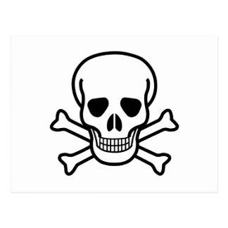 Postal Símbolo de la muerte del cráneo y de la bandera