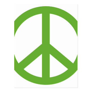 Postal Símbolo verde del signo de la paz