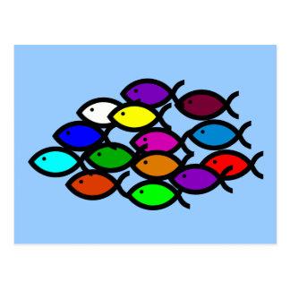 Postal Símbolos cristianos de los pescados - escuela del