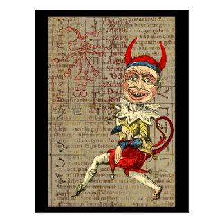 Postal Símbolos ocultos del zodiaco del payaso del diablo