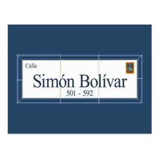 Postal Simon Bolivar, placa de calle, Sucre, Bolivia